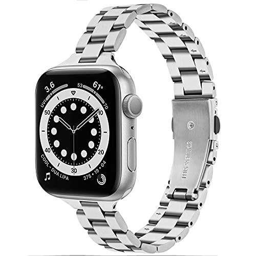 VISOOM Pulsera delgada compatible con Apple Watch Series 6, 5, 4 3, elegante iPhone Watch acero inoxidable bandas de metal, 42mm/44mm,