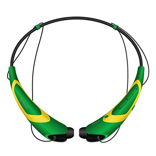 Bluetooth Headphones/Headset Rymemo Match Color Metallic-Feeling Soft Polishing Wireless Music Earphones Stereo Earbuds Sports/Running Magnetic Neckband Style for Cellphone,Yellow-Green