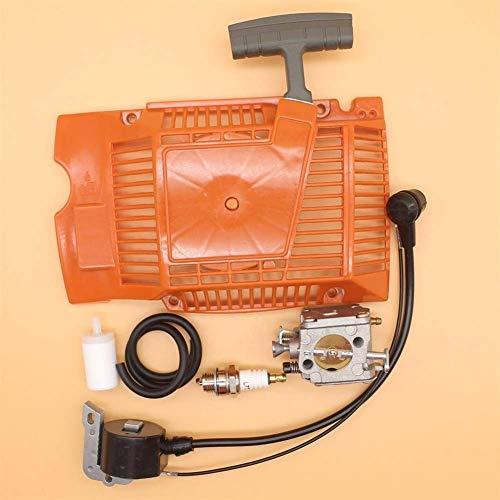 Kit de bujía de Filtro de Manguera de Combustible de carburador de Bobina de Encendido de Arranque de Retroceso Compatible con Piezas de Motosierra Husqvarna 268272 272XP