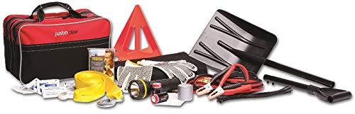 Justin Case All Weather Auto Safety Kit with 365 days of Roadside Assistance – Car Emergency Kit with Booster Cables, Collapsible Shovel, Tow Strap, Poly Blanket, Reflective Triangle, Flashlight,