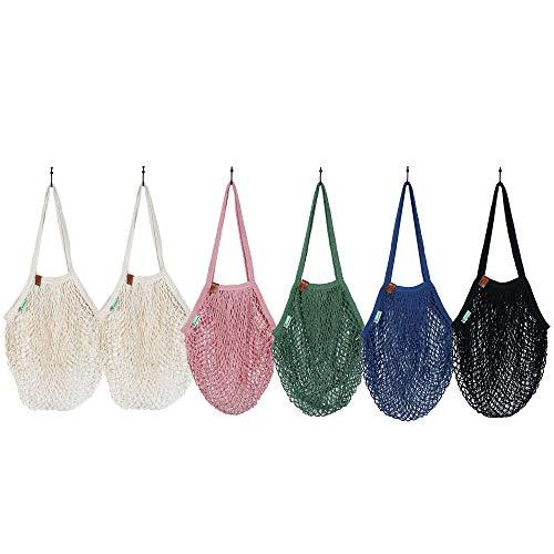 RockImpact Paquete de 6 bolsas reutilizables de red con asas largas, multicolor