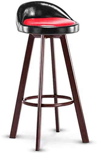 JYV Barstools High Stool| Imitation Wood Design | Faux Leather Seat | Modern High Chair Kitchen Restaurant Bar (Color : Seat Height 83cm, Size : Red)