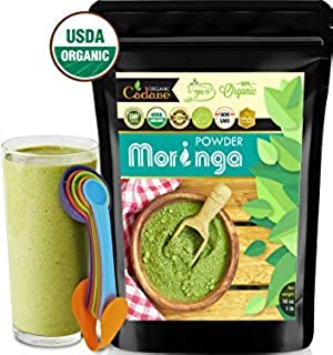 USDA Organic Moringa Powder - from India 16oz | Miracle Oleifera Plant Based Protein Powder Contains Vegan Calcium, Multivitamin, Omega & Core Nutrition | Antioxidant, Brain Booster, Energy Drink