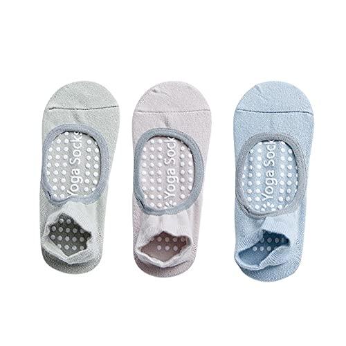 SOCKE 3 pares de calcetines antideslizantes para yoga, pilates y pilates, calcetines antideslizantes para yoga, yoga, barro, ballet, danza descalzo, multicolor, talla única