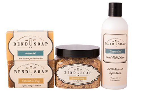 Bend Soap Company All Natural Best for Eczema Bundle – Help Relieve Signs of Eczema, Psoriasis and Itchy Dry Skin Naturally with Goat Milk Based Products – Bar Soap, Bath Soak and Lotion