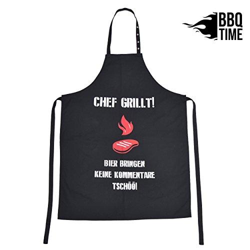 BBQ TIME Grillschürze, Schürze für Männer und Frauen, extra Lange Kochschürze mit verstellbarem Nackenband, Küchenschürze zum Grillen in vielen schönen Designs...