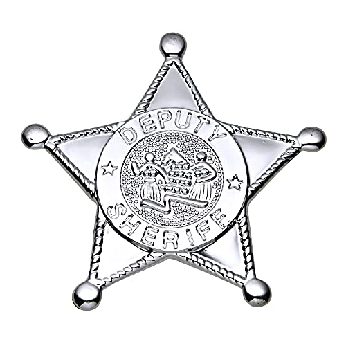 Silbernes Sheriff-Stern-Abzeichen Zubehör für Cowboys und Indianer Kostüme & Outfits