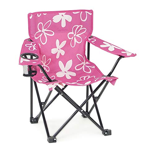 Kid Folding Outdoor Lawn Beach Camping Camp Chair with Child Safety Lock, Cup Holder and Carry Case | Matching Doll Chair NOT Included