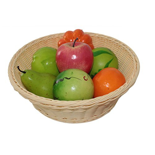 ViewHuge Imitation Rattan Bread Basket,Food & Fruit & Vegetables Serving Roll Baskets Wicker Bread Tray