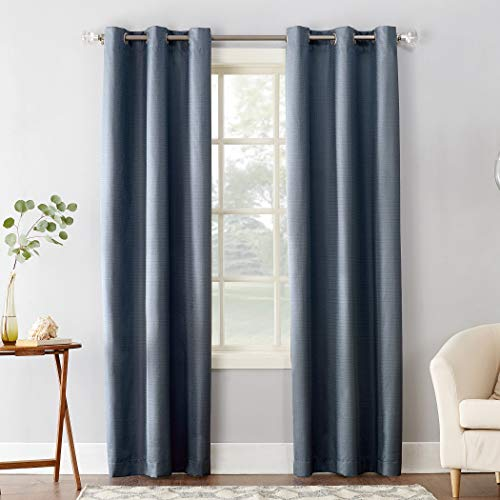 "Sun Zero Cooper Thermal Insulated Room Darkening Grommet Curtain Panel 40"" x 84"" Blue"