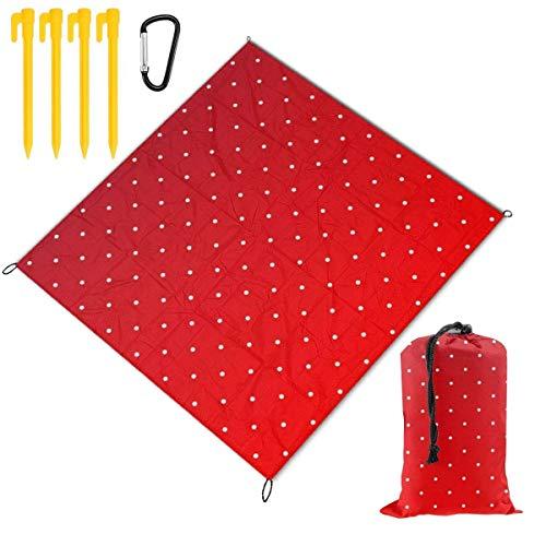 OPO-T Outdoor-Picknickdecke & Camping-Matte rot und weiß gepunktet, tragbar, leicht, wasserdicht, sanddicht, Tasche, Stranddecke, große Picknickmatte und für Outdoor-Reisen, Camping, Wandern, Aktiv