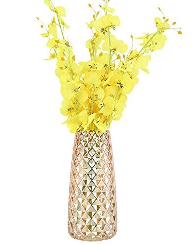 Luxspire Nordisch Stil Vase, Ananas Muster Blumenvase rutschfest Glasvase Dekovase Tischvase Blumenspender für getrocknete Seidenblumen Hause Büro Esstisch Festival Schmück Geschenk - Laser Bernstein