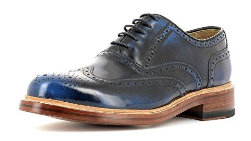 Gordon & Bros Herrenschuhe Levet 2506 Klassischer rahmengenähter Schnürhalbschuh mit Oxford Schnürung im Brogue Stil für Anzug, Business und Freizeit blau (Blue Navy), EU 40