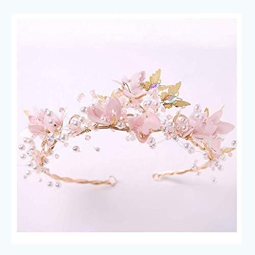 Tocado de Corona Corona de Flores Diadema para niña Accesorios para el Cabello Accesorios de Rendimiento de Pasarela (Color: A)