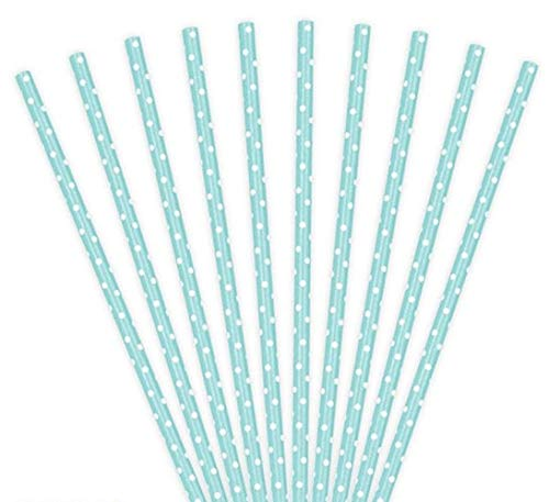 Set 10 Cannucce di Carta Tiffany con Pois Bianchi da 19,5 cm di Lunghezza ideali per Matrimonio Eventi Feste di Compleanno - Pallini Turchesi Azzurre