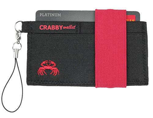 Crabby Gear - Front Pocket Wallet - Minimalist Wallet - Elastic - Red