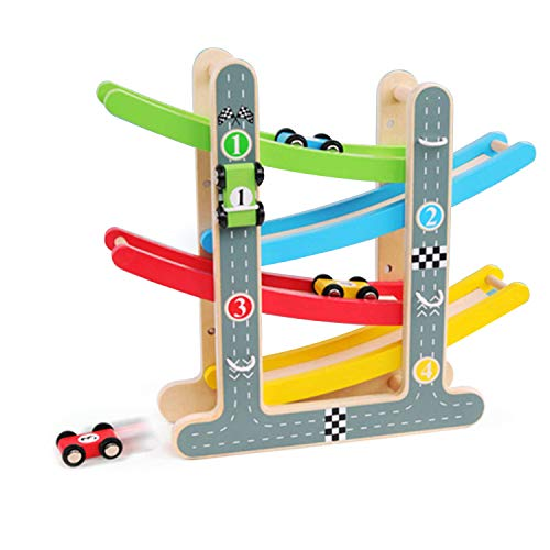 SkGoodCow Car Racer Track Playset Wooden Click Clack Toys with 4 Levels Zig Zag Gliding Cars Wood Ramp Racer Toys for Toddler Early Education Toy Kid Car Learning Gift for 1 2 3-6 Years Old Girl Boy