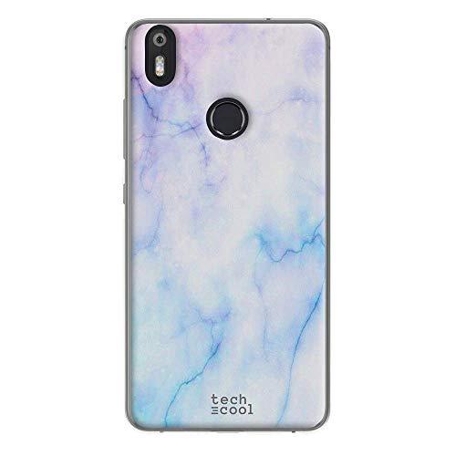 Funnytech® Funda Silicona para Bq Aquaris X Pro [Gel Silicona Flexible, Diseño Exclusivo] Textura marmol Azul