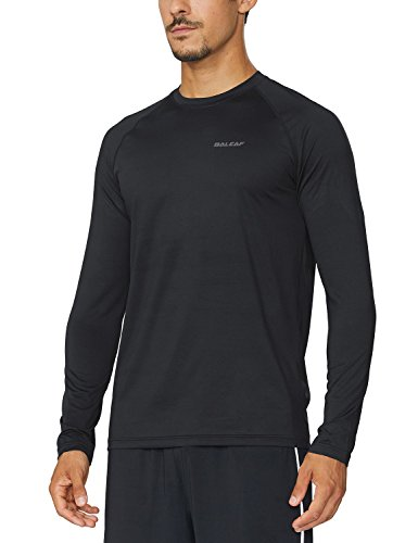 BALEAF Men's Long Sleeve Running Shirts Athletic Workout T-Shirts Black Size L