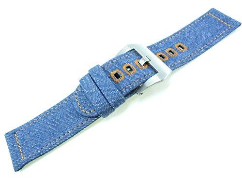JRRS7777 22mm Homme Denim Toile Sangle Band Sports Armée Militaire Bracelet Montre (Un Jean Bleu+Brossé Argent Boucle)