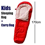 Tesco Kids Sleeping Bag Red Childrens Junior Mummy Shape For Camping Bed Sleep Overs Includes Carry bag