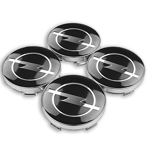 UNDKI Auto Radnabenkappen 4 stück 56/60mm Rad Center Hub Caps Auto Emblem Abzeichen Radmittelkappe Kompatibel mit Opel Zafira a B Astra H g J K F Mokka Corsa B C D Vectra Ersatzteil Nabendeckel