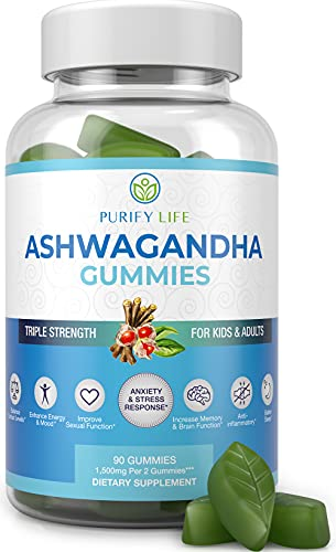 Ashwagandha Gummies (Max Strength - 750mg/Gummy) - (90ct - Up To 3 Month Supply) Support Calm Mood, Relaxation, Sleep Aid & Cognitive Health - Ashwagandha Gummies For Women Ashwagandha Gummies For Men