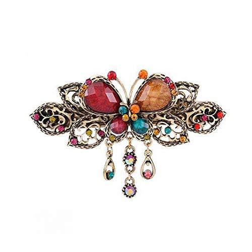 Damen-Haarspange/Haarspange im Retro-Stil mit Schmetterlingen und Strasssteinen