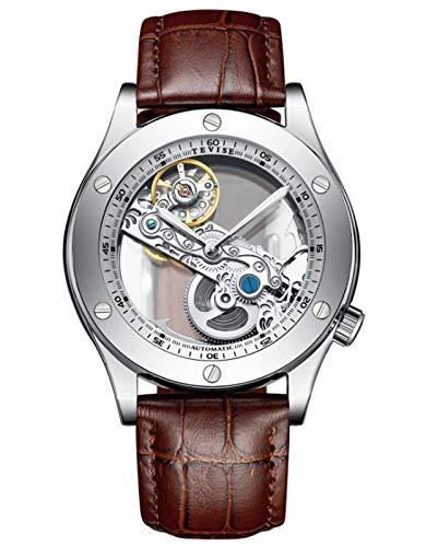 MLHXHX Reloj de hombre, multifunción, mecánico, para hombre, movimiento largo, impermeable, luminoso, gris