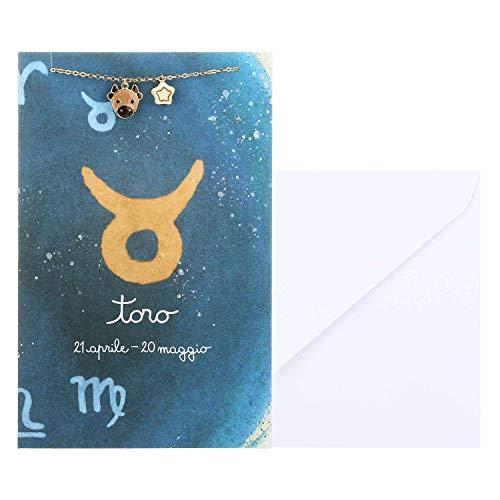 THUN - Bracciale da Donna con Segno Zodiacale Toro - Oroscopo - Gioielli Donna - Ottone Placcato Oro e Ceramica