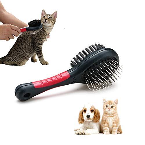 Locisne Cat Dog Pet 2 in 1 Spazzola per toelettatura a Doppia Faccia, Districante per Animali Domestici Spazzola per pettini per Massaggi in Silicone + setola per Capelli Corti Lunghi