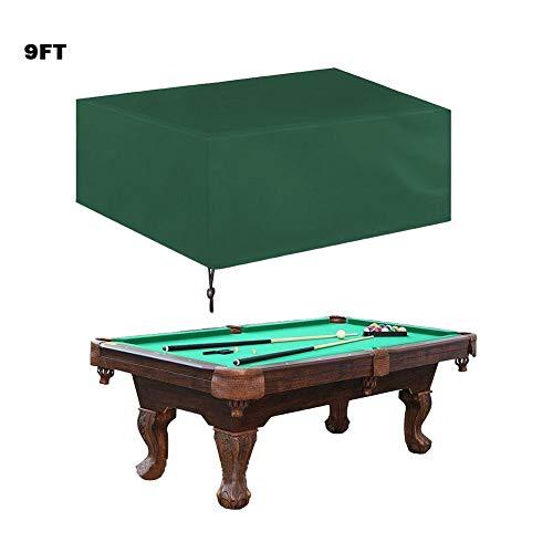 Cubierta para mesa de billar de 7ft /8ft/9ft,Billardtisch Staubdicht Heimtisch funda silla impermeable cubierta protectora de mesa de billar grün: 9FT: 287 * 155 * 82cm ·