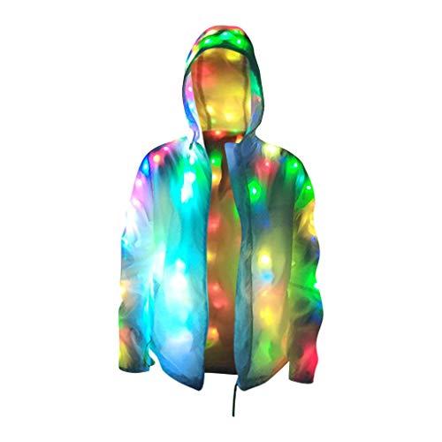 Surfiiy Felpa con Cappuccio Uomo Donna Felpa con Luce LED Colorate Cool Coppia Pullover Cardigan Tumblr Ragazze Danza Night Club Hooded Pullover (L)