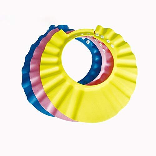 Bebé Niños Niños Seguro Champú Baño Baño Ducha Gorro Sombrero Lavado Escudo Cabello Gorra ajustable de champú elástico (Color: rosa)