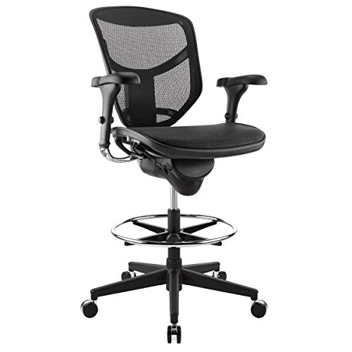 WorkPro Quantum 9000 Series Mesh Mid-Back Stool Chair, Black