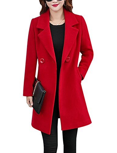 Tanming Womens Elegant Notched Collar Button Wool Blend Solid Long Pea Coat Overcoat (Red, Small)