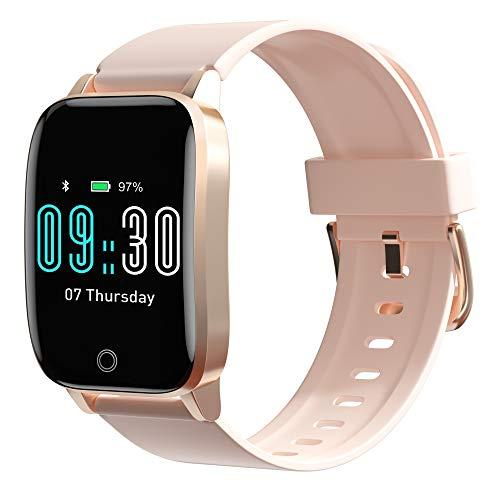 Smartwatch, Smart Watch für Damen Herren, IP68 Wasserdicht Fitness Tracker mit Schlafmonitor Schrittzähler Pulsuhren Sportuhr mit Stoppuhr Atemtraining Armbanduhr für iOS Android Handy