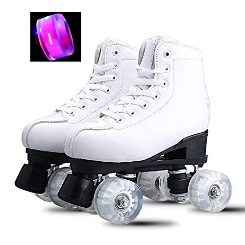 Pattini a Rotelle Bianchi Classici con Ruote Flash in PU,Tomaia in Pelle PU,Pattini da Pattinaggio Roller Skates Quad per Principianti Adolescenti Donne Adulte Uomini Ragazzi Ragazze,EU40/UK6.5, HSGAV
