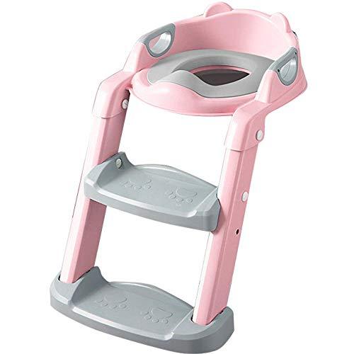 Rosado Asiento Inodoro Acolchado Patrón de OsoAsiento WC Escalera con Escalera,Capacidad de Carga 60kg,Seguro, Antideslizante Taburete para WC para Niños Niñas Azul