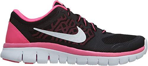 Nike Girl's Flex Run 2015 Running Shoe (GS) Black/Pink/White Size 7 M US