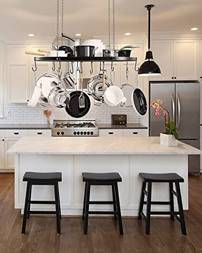 X Home 33-Inch Hanging Pot Racks for Kitchen Ceiling, with Adjustable Chains and 12 Removable Hooks, for Kitchen Storage & Organization, Ceiling Mounted, Black