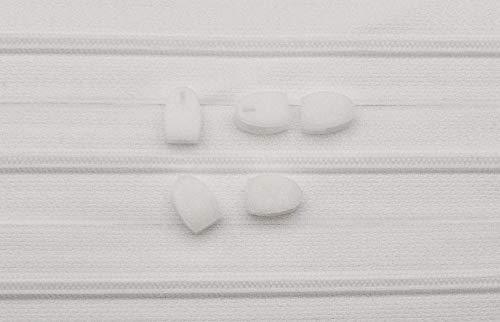 5 m Reißverschlüsse endlos weiß incl. 5 Spezial-Schieber für Bettwäsche 4 mm-Spiral Kette