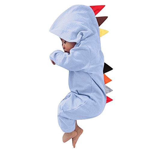 MRULIC MRULIC Neugeborenes Baby Jumpsuit Outfit Dinosaurier Reißverschluss mit Kapuze Spielanzug Overall Outfit Kleidung Niedlicher Babyschlafsack Onesies Herbst und Wintermodelle(Rosa,85-90CM)