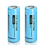 ICR17500 Battery 3.7V 1100mah A Size Lithium Rechargeable Batteries with Flat Top 2pcs(They are not 1865mm Size Batteries)