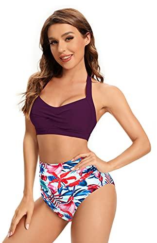 SHEKINI Traje de Baño de Dos Piezas Mujeres Elegante Twisted Ajustable Halter Bikini Top Bikini de Dos Piezas Vintage Pliegues Cintura Alta Parte Inferior de Bikini (Púrpura, M)