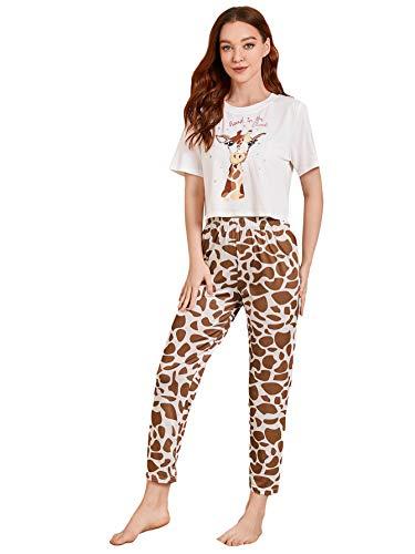 DIDK Damen Schlafanzug Set Pyjama Set Kurzarm Shirt und Lang Schlafanzughose Sleepwear Zweiteilig Loungewear Weiß+Braun S