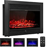 ARLIME 28.5' Electric Fireplace Insert Recessed Mounted, 750/1500W Wall Mounted Fireplace Heater with Remote Control and Timer,3 Color Flames Adjustable