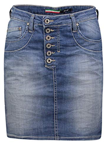 Please Damen Midi Jeansrock Easy Skirt G713 - Blau - Medium Blue Grösse XS S M L XL 98% Baumwolle, Größe:XS, Farbe:Blue Denim (1670)