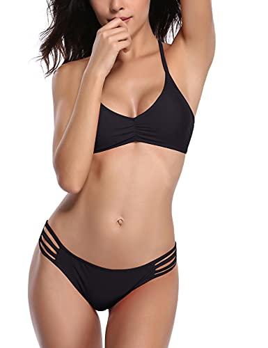 SHEKINI Womens Bikini Padded Cutout Strappy Halter Swimsuits Two Piece Bathing Suits (Large/(US 12-14), Manhattan Black)