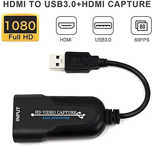 Lumiereholic Tarjetas de captura de vídeo USB3.0 1080P 60fps adaptador HDMI a USB juegos de difusión en directo convertidor de tarjeta de captura de vídeo tarjetas sintonizador de TV